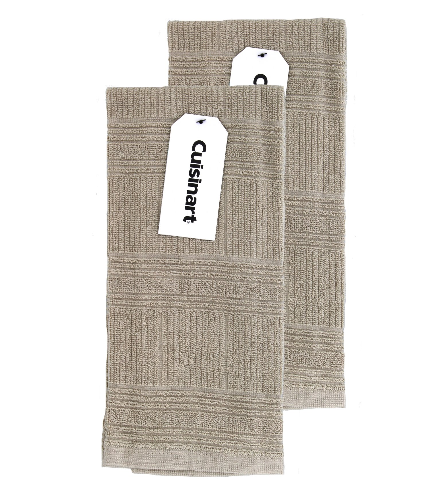Cuisinart Kitchen, Hand and Dish Towels - Premium 100% Cotton Terry, Tan – Soft, Absorbent, Quick Drying and Machine Washable Tea Towels – Stacked, Set of 2, 16 x 26 Inches