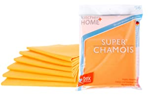 """Kitchen + Home Super Chamois - Extra Large 20"""" X 27"""" Super Absorbent Cleaning Cloth - 6 Pack Orange Shammy - Holds 20x It's Weight in Liquid"""