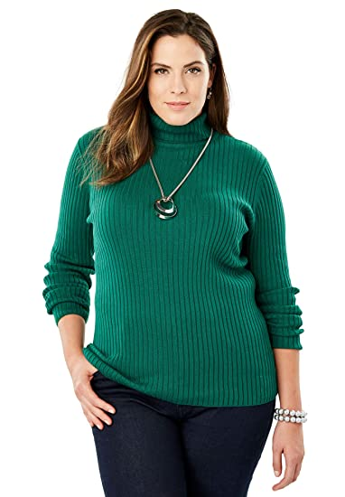 22a78d583 Jessica London Women's Plus Size Turtleneck Sweater with Ribbing - Dark  Emerald, 14/16 at Amazon Women's Clothing store: