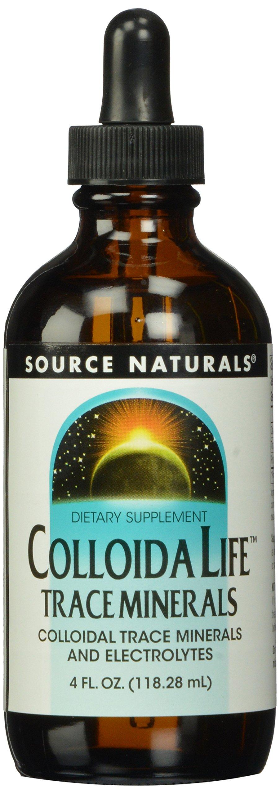 Source Naturals Colloida Life Trace Minerals Collidal Trace Minerals & Electrolytes - Dietary Supplement - Pure Source of Calcium, Chromium, Copper, Potassium, Zinc & More - 100% Pure - 4oz
