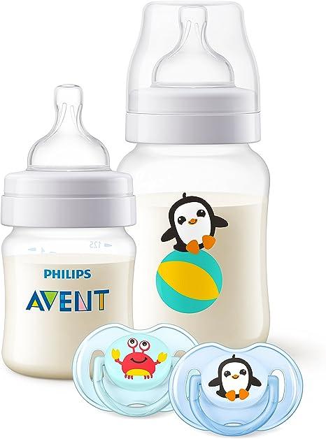 Philips Avent SCD374/01 - Set regalo Classic+ con biberones de 125 ml, 260 ml y dos chupetes de 0 a 6 meses, anticólico, diseño animales: Amazon.es: Bebé