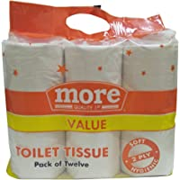 More Toilet Tissue Rolls - 2 Ply (240 Sheets), 12 Pieces Pack