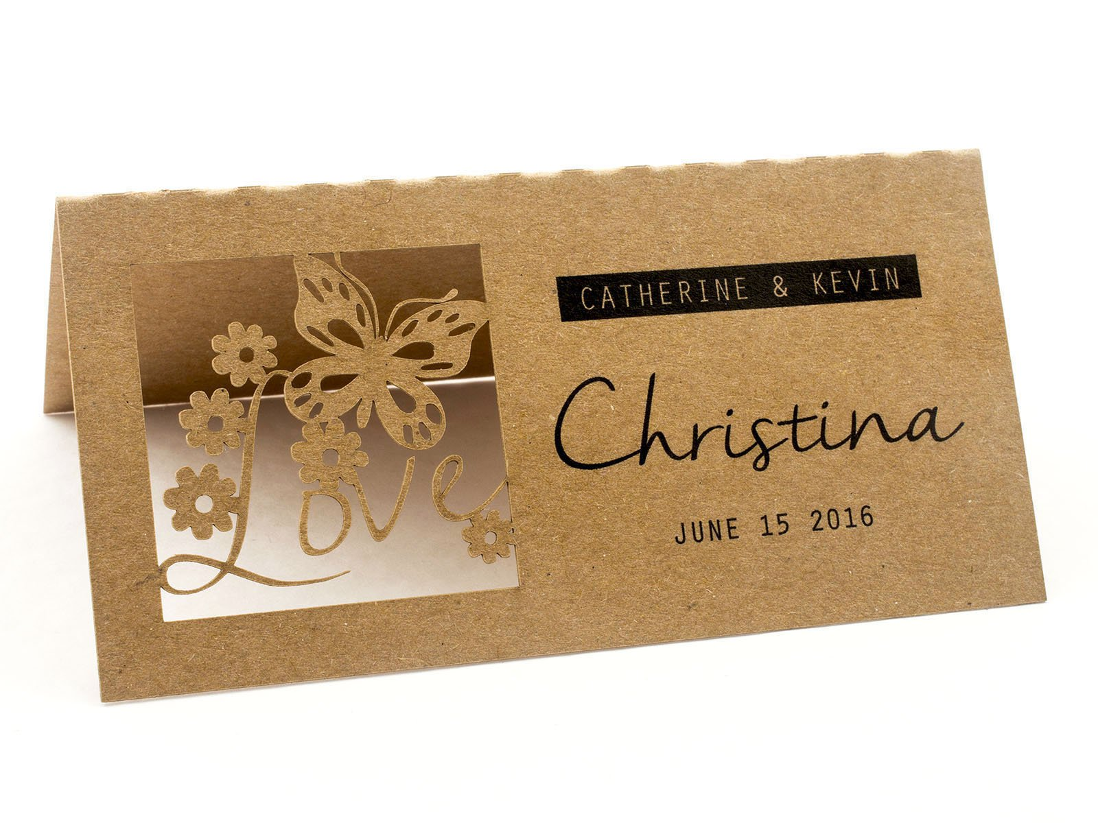 Summer-Ray 24pcs Laser Personalized Love is in the Air Brown Kraft Wedding Place Cards