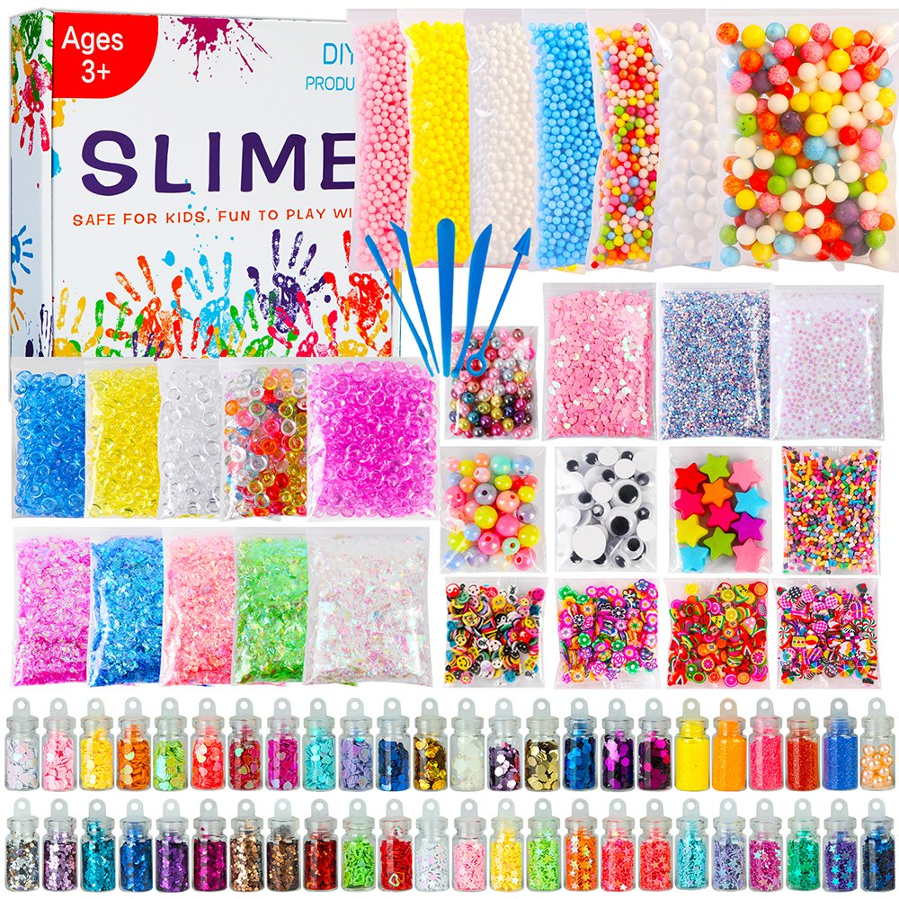 POLMMYS Slime Supplies - 82 Pack DIY Slime Kit, Include Floam Beads, Fishbowl Beads, Glitter Jars, Googly Eyes, Colorful Shells, Pearls and Sprinkled for Soft Clay Fluffy Slime Making