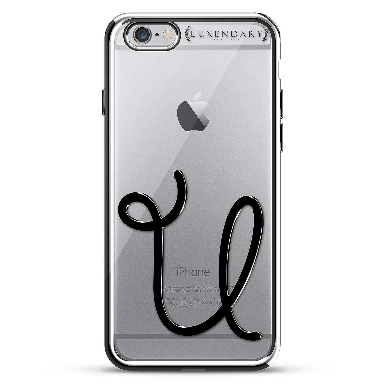 iPhone 6 / 6S Plus用LUXENDARYブラックイニシャルU4デザインデザインクロムシリーズケース   B01N1VI7JU