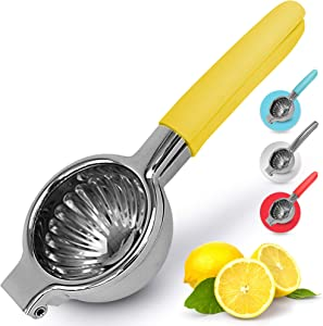 Zulay Lemon Squeezer Stainless Steel with Premium Heavy Duty Solid Metal Squeezer Bowl and Food Grade Silicone Handles - Large Manual Citrus Press Juicer and Lime Squeezer Stainless Steel (Yellow)