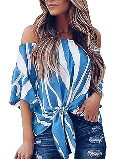 91277c41585 Hiistandd Summer Chiffon Tops Off Shoulder Striped Blouse Casual Bell  Sleeve Shirt