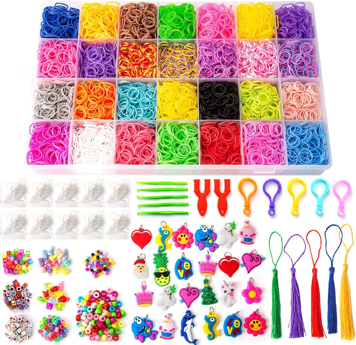 95 Letter Beads 500 S-Clips 5 Tassels, 5 Backpack Hooks 24 Charms Including 11,000 Rubber Loom Bands 28 Colors SAVITA 11800+ Rainbow Rubber Bands Kit for DIY Bracelet Making 170 Colorful Beads