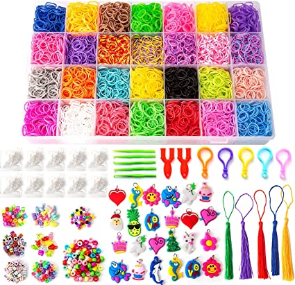 S Clips /& 24 Letter Beads Toy 300 Black /& White Loom Bands With Tool Pick
