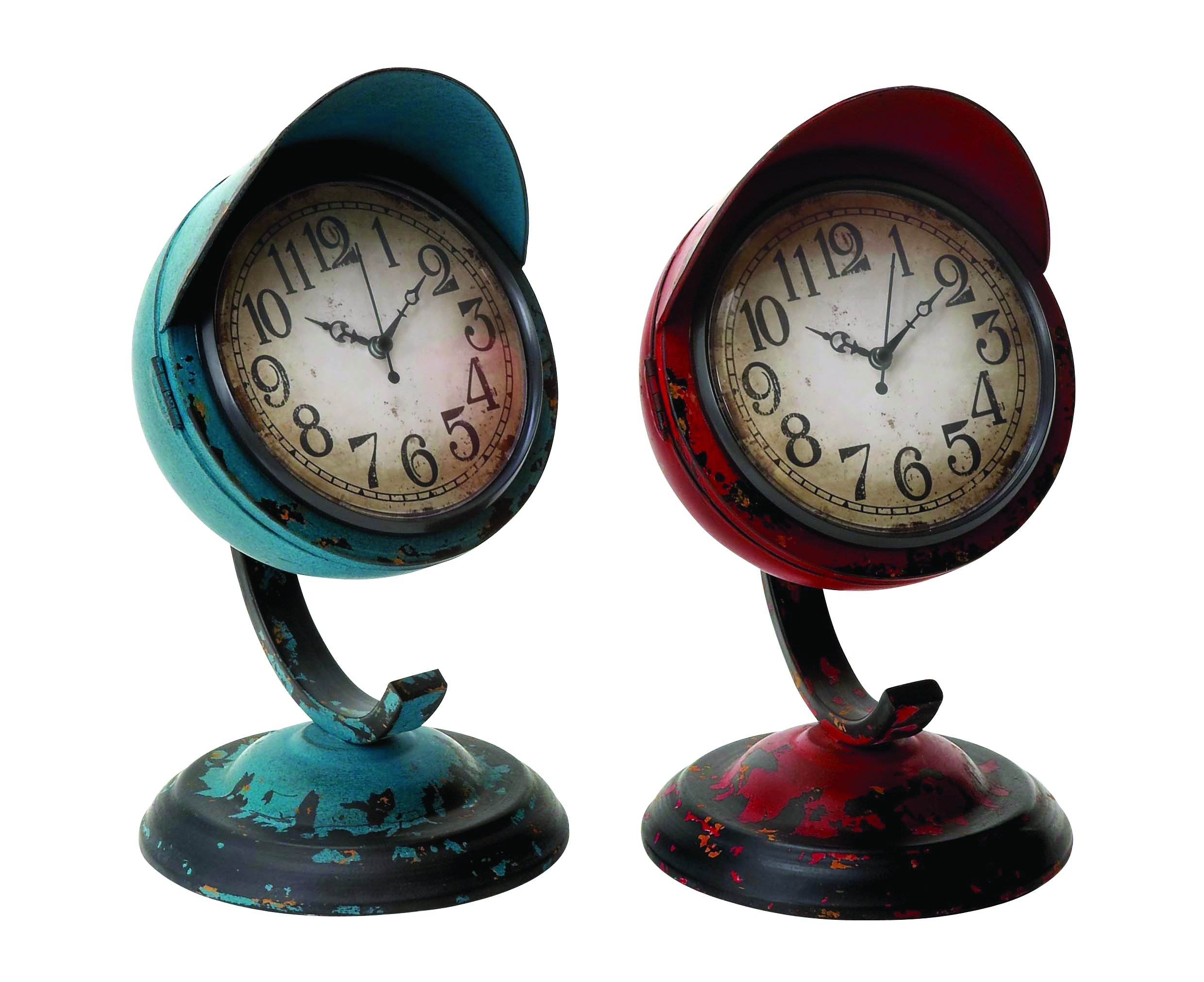 Benzara Table Clock Assorted, Red and Blue Colors, Set of 2