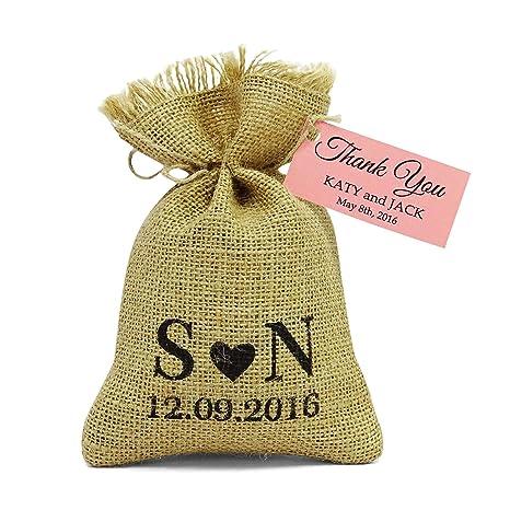 Amazon.com: 20 Bolsas de boda cinta de Favor rústico con ...