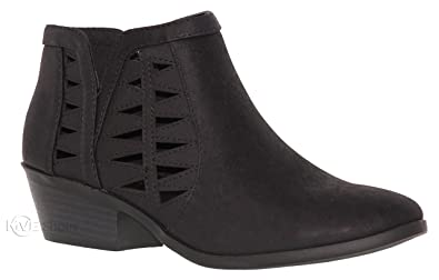 MVE Shoes Women s Ankle Booties - Perforated Cut Out Stacked Block Heel -  Comfy Booties for 0db92d409f