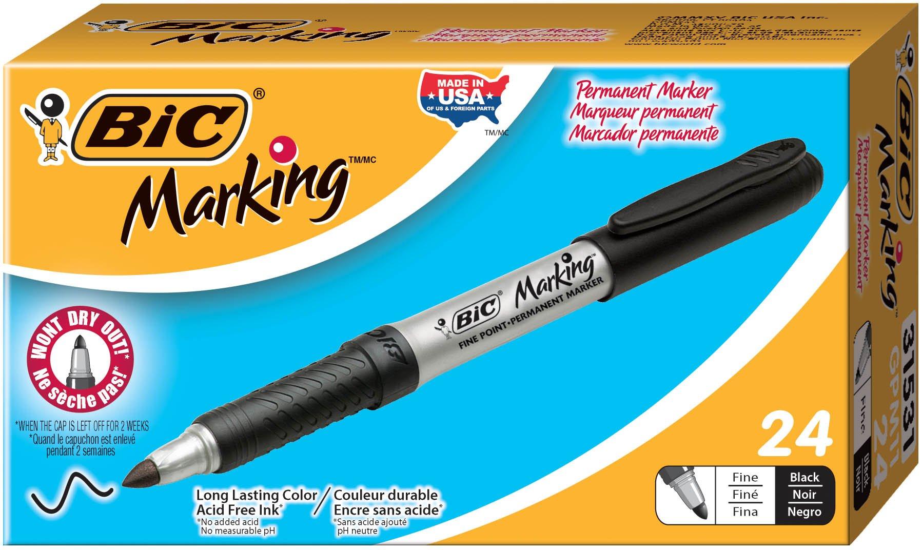 BIC Marking Permanent Marker, Fine Point, Black, 24-Count