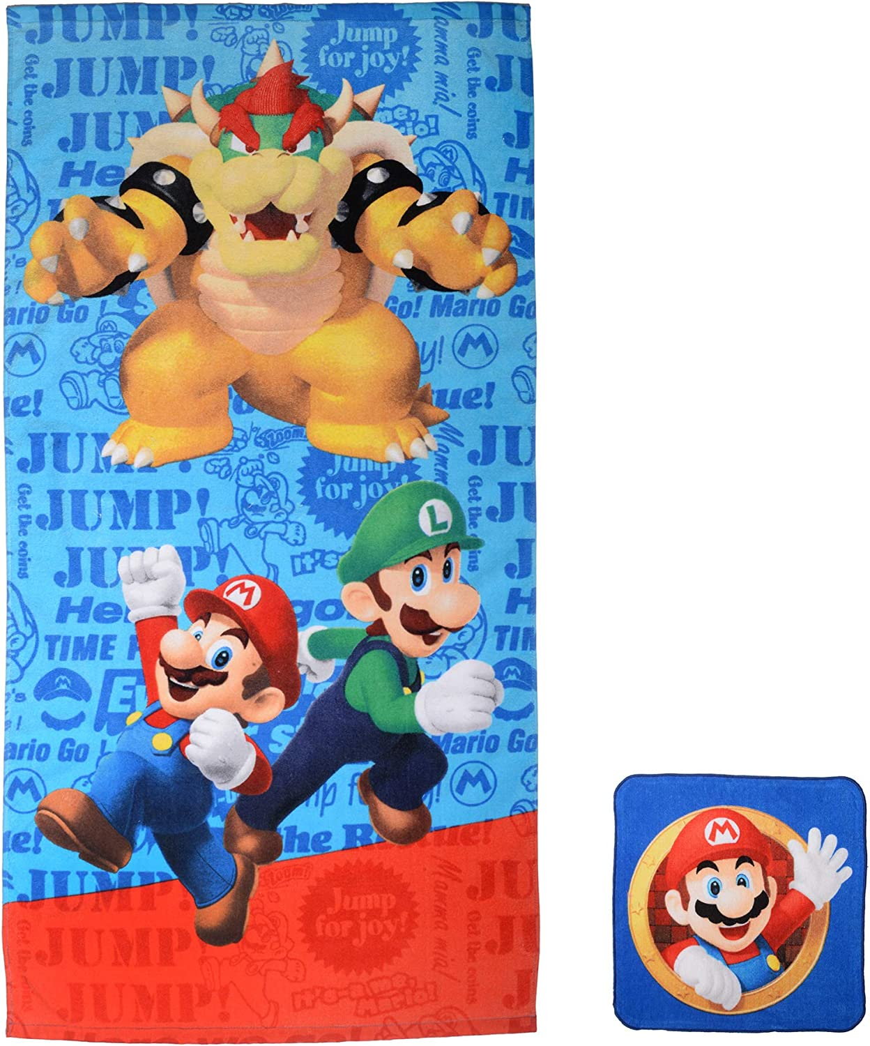"Franco Kids Bath and Beach Soft Cotton Terry Towel with Washcloth Set, 25"" x 50"", Super Mario"