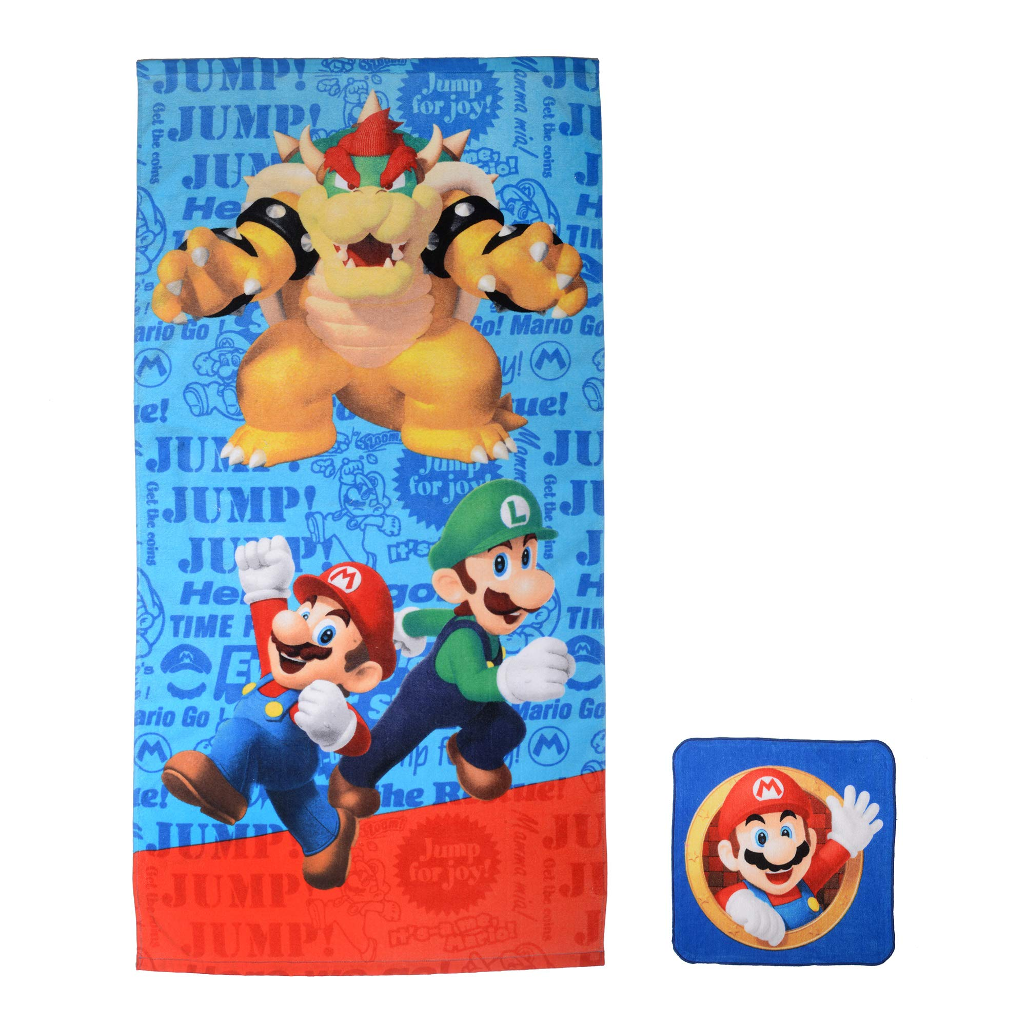 Franco Kids Bath and Beach Soft Cotton Terry Towel with Washcloth Set, 25'' x 50'', Super Mario
