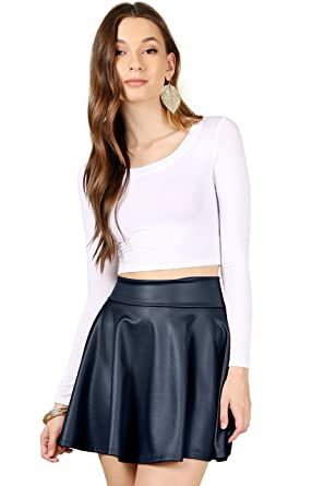 8169c09c6b70 Leather Navy Blue Skirts Reg and Plus Size High Waisted A Line Skater Skirt  (Size