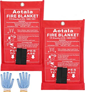 Aotala Fire Blanket Emergency Surival Fire Blankets Fiberglass Flame Retardant Protection and Heat Insulation for Kitchen,Fireplace,Grill,Car,Camping (2 pack)