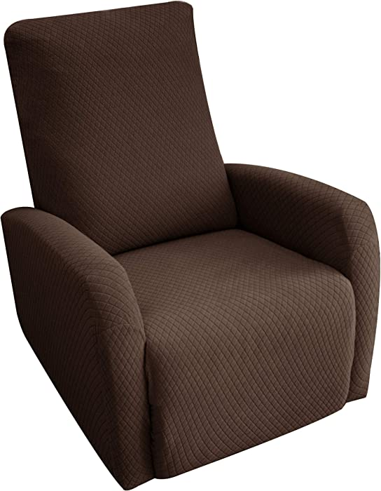 Obytex 4 Pieces Stretch Recliner Chair Cover Polyester and Spandex Upgrade Pattern Couch Covers Dog Cat Pet Slipcovers Furniture Protectors,Machine Washable (Recliner, Style1 Brown)