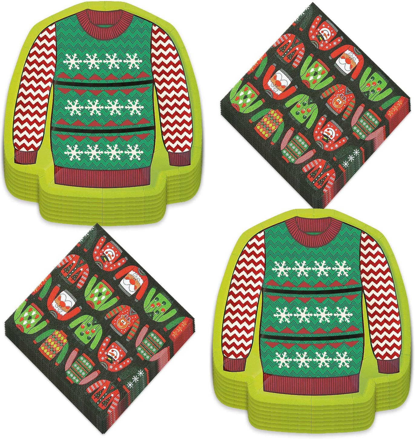 Ugly Sweater Party Supplies - Dessert Plates and Beverage Napkins For Tacky Sweater Holiday Christmas Parties (Serves 16)