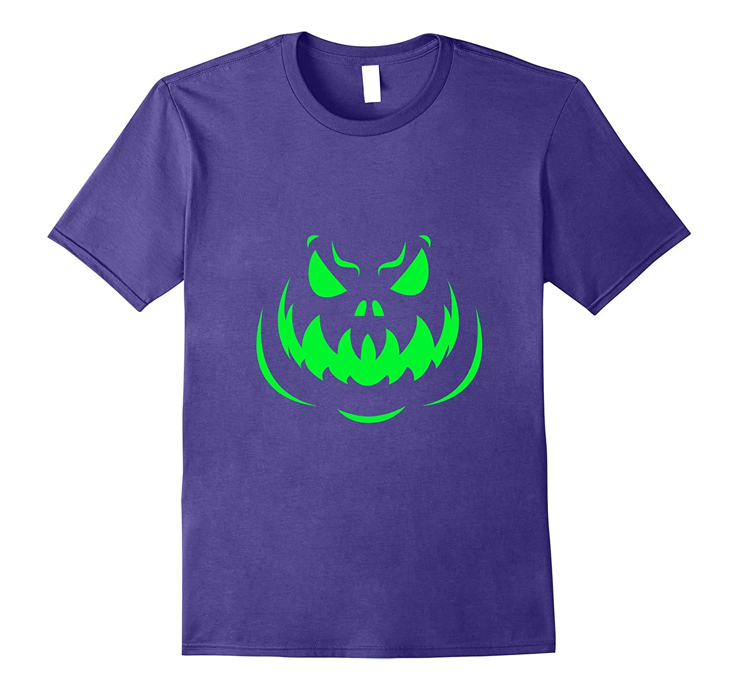 Scary Face Halloween Tshirt Dark Green Glow-FL
