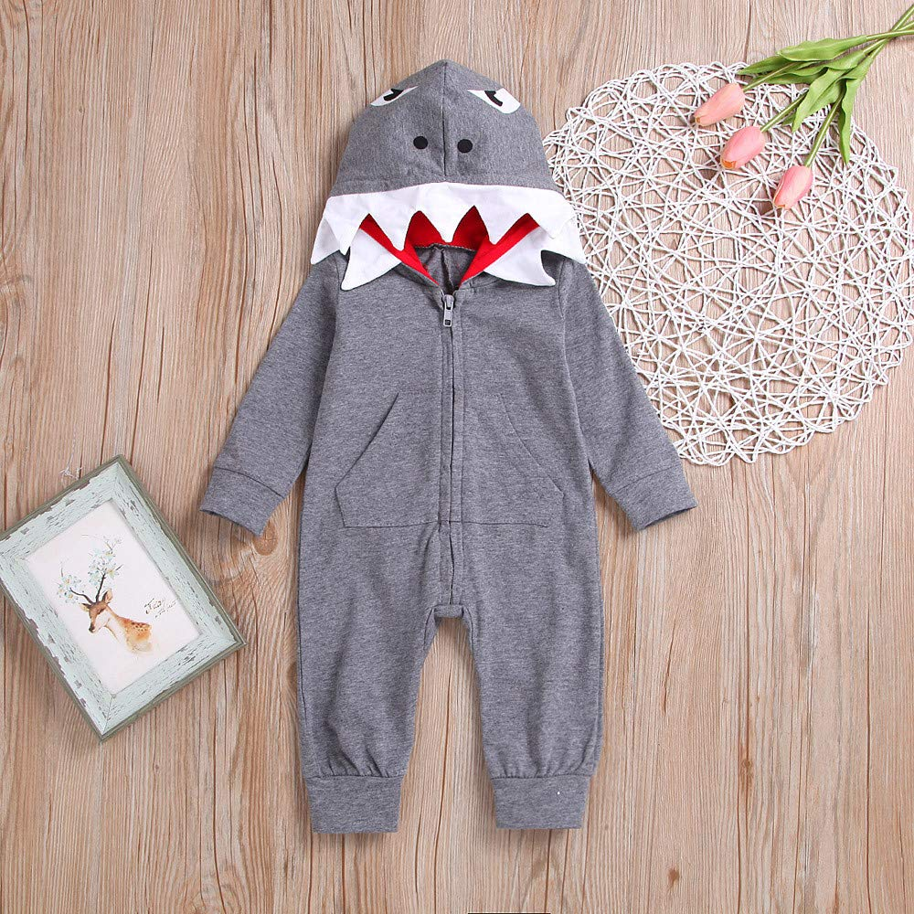 sunnymi Cute Toddler Baby Boys Girls Long Sleeve Shark Cartoon Hooded Sweatshirt Top
