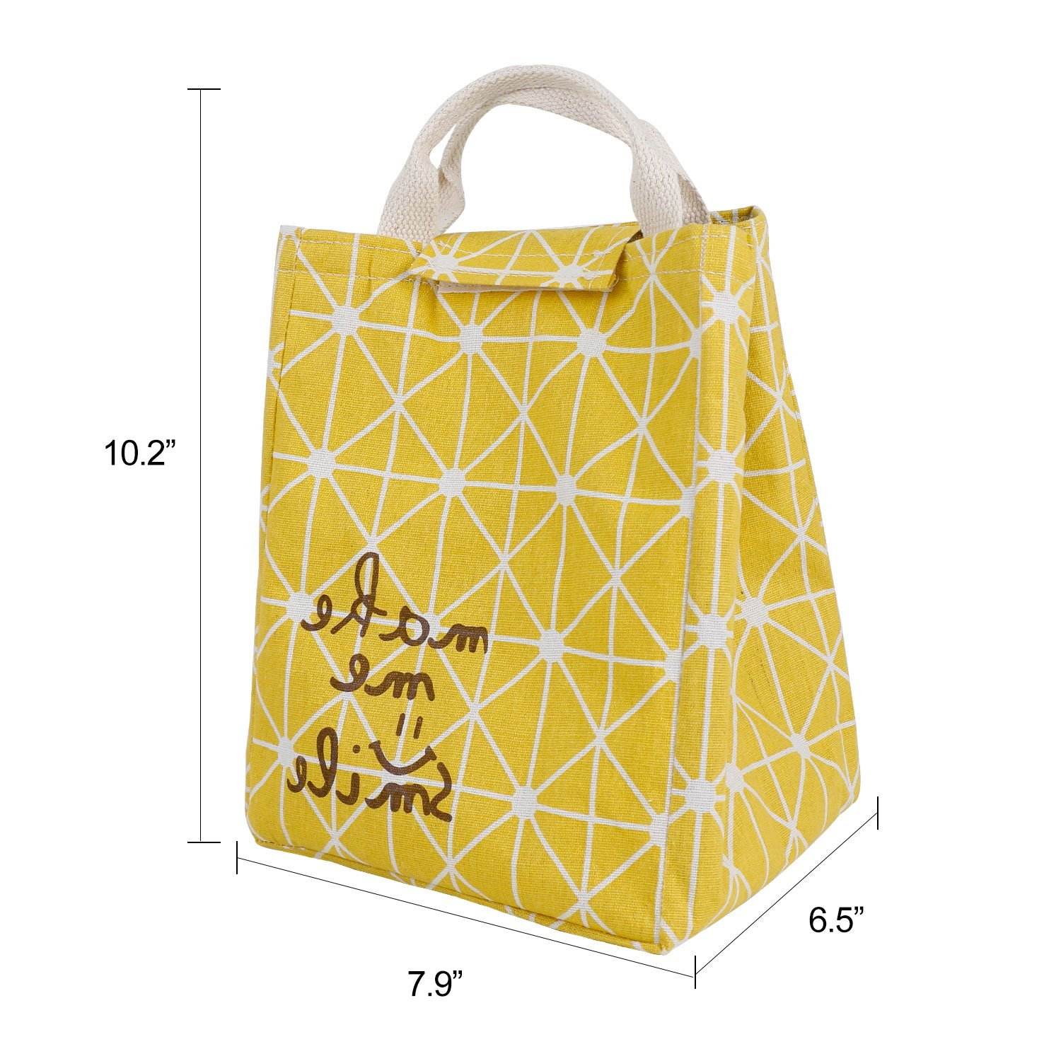 HOMESPON Reusable Lunch Bags Printed Canvas Fabric with Insulated Waterproof Aluminum Foil, Lunch Box for Women, Kids, Students (Rhombus Pattern-Yellow) by HOMESPON (Image #4)