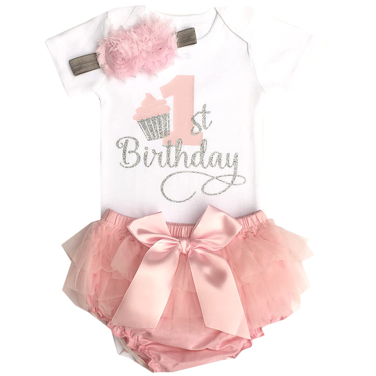 18905e0099367 Amazon.com  Simply Swanky Baby Girl First Birthday Bloomers Outfit ...