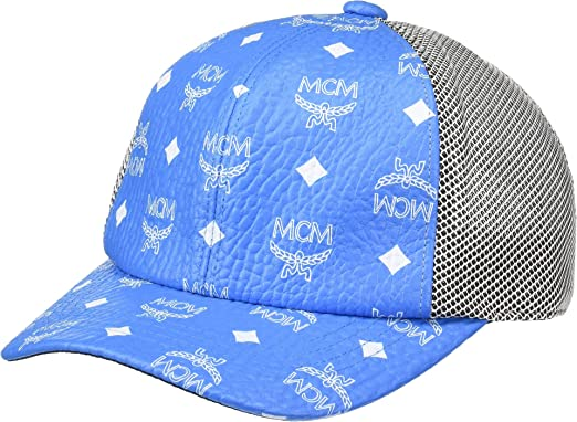 MCM Mens Classic Mesh Cap in Visetos White Logo T. Blue One Size at ... be55ee81dee7