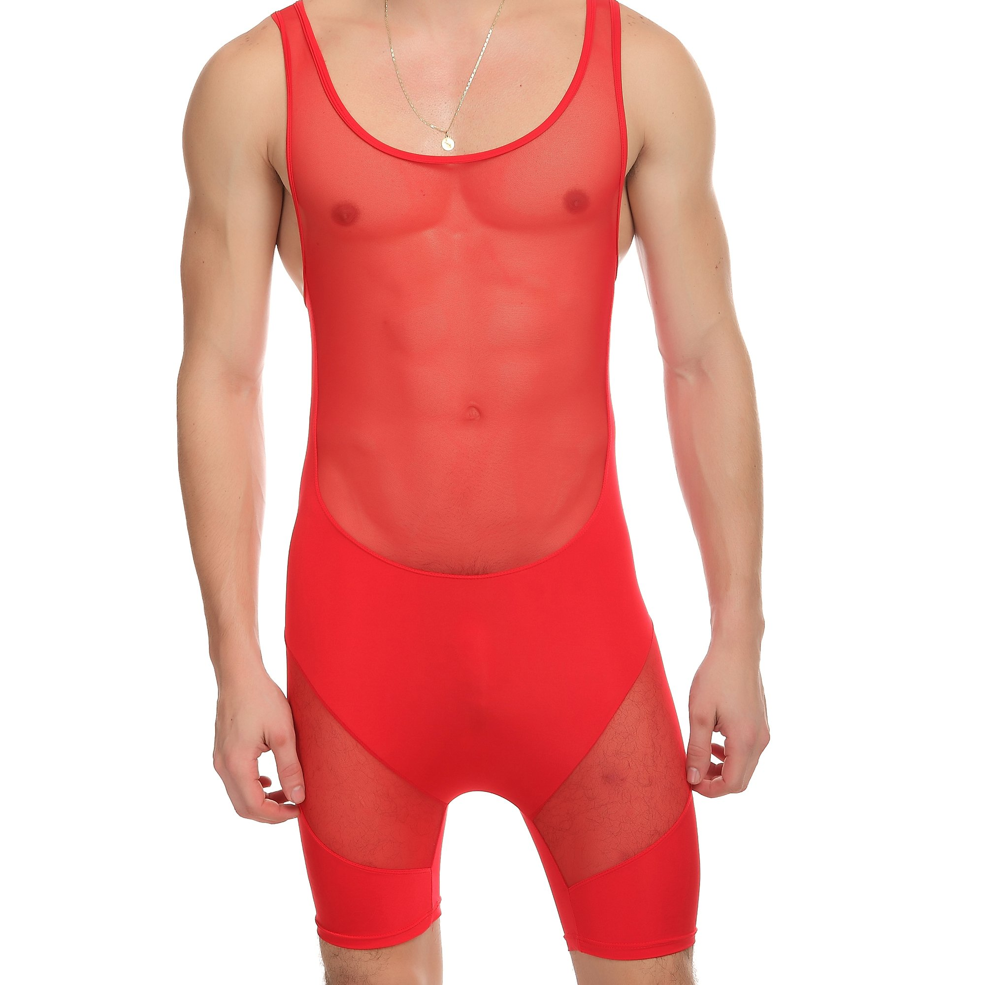 ONEFIT Mens Sheer Mesh Wrestling Singlet Bodysuit Leotards Underwear Red L