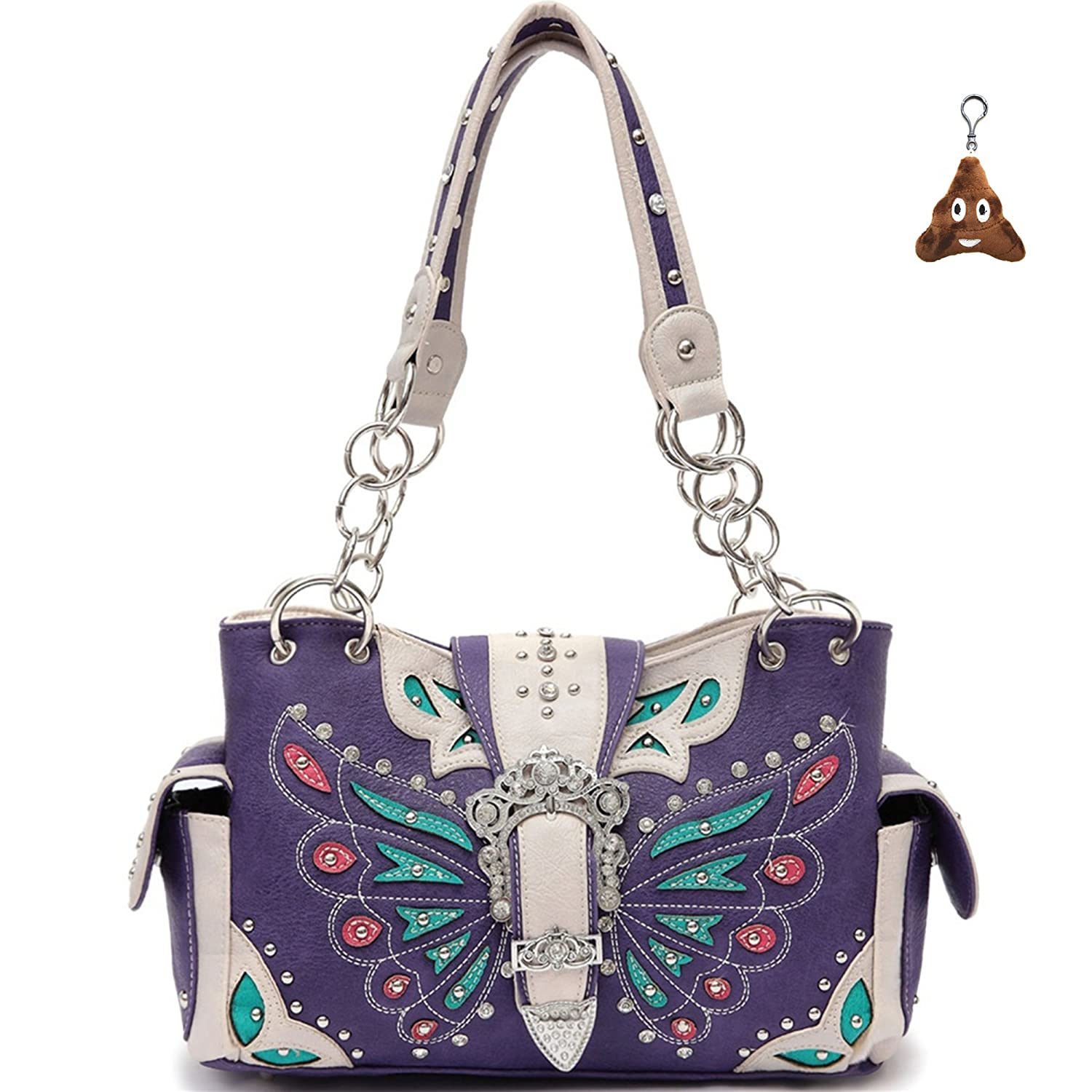Cowgirl Trendy Western Concealed Carry Butterfly Belt Buckle Purse Handbag Messenger Shoulder Bag Purple