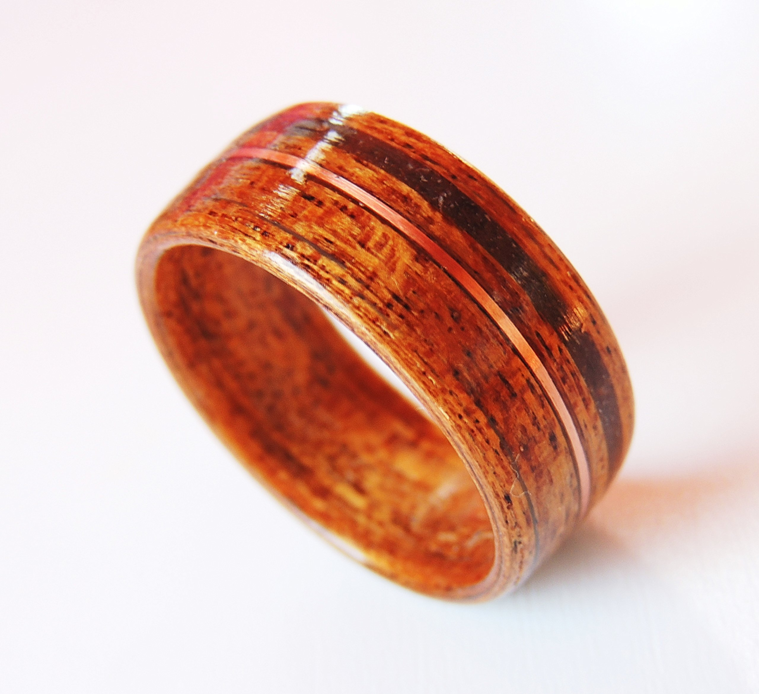 Bentwood Ring Dinosaur Bone with Copper on African Walnut, Non-Metal ring, engagement, wood ring, anniversary