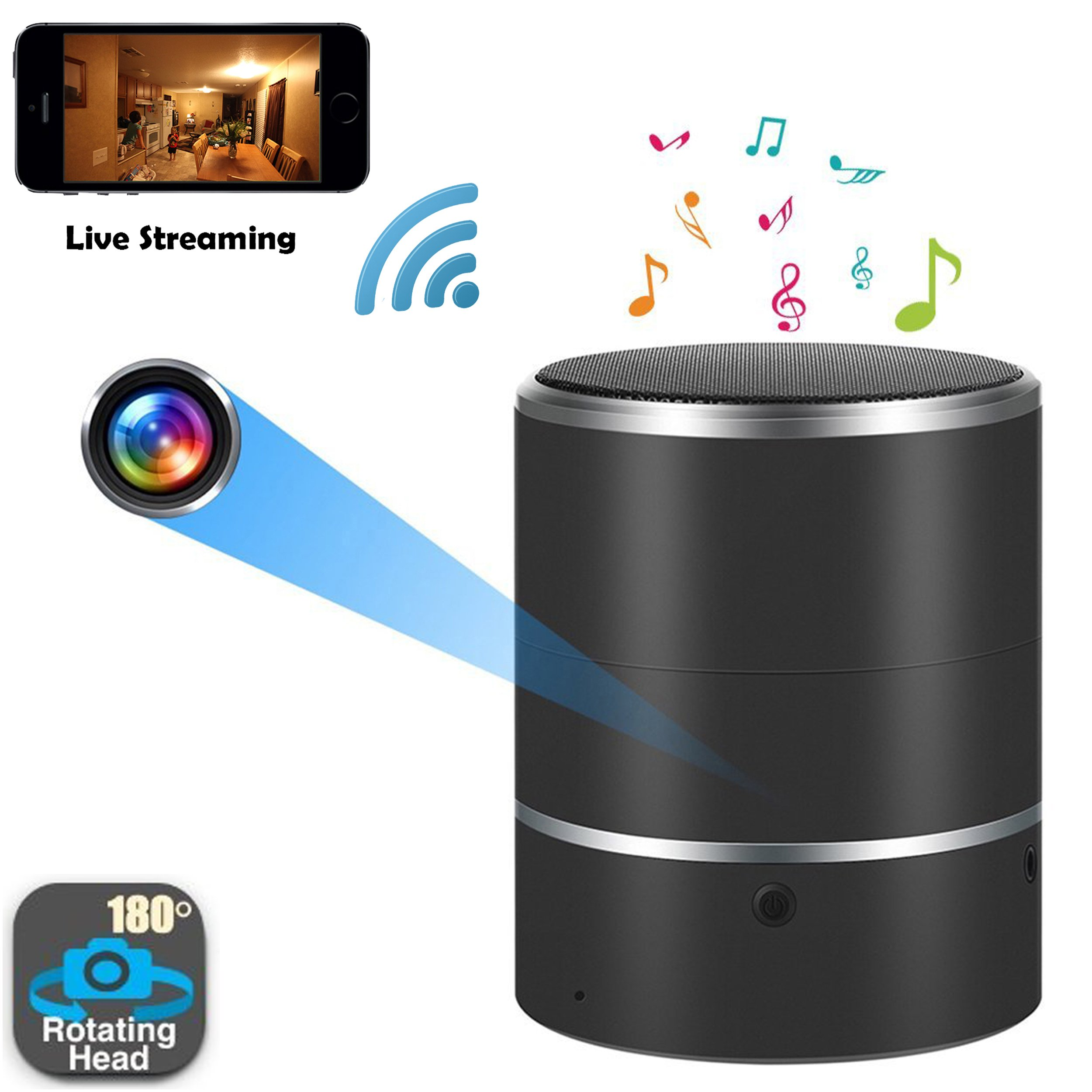 [180° CAMERA VIEW] WiFi Hidden Camera Bluetooth Speaker - Real Time View - Nanny Cam - Motion Detection - Phone Alerts - 1080P High Definition - Spy Camera