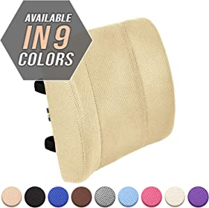 Viteps Lumbar Support Pillow / 100% Pure Memory Foam Lower Back Cushion with 2 Adjustable Straps Perfect for Computer - Office Chair - car seat/Breathable Machine Washable Cover (Beige)