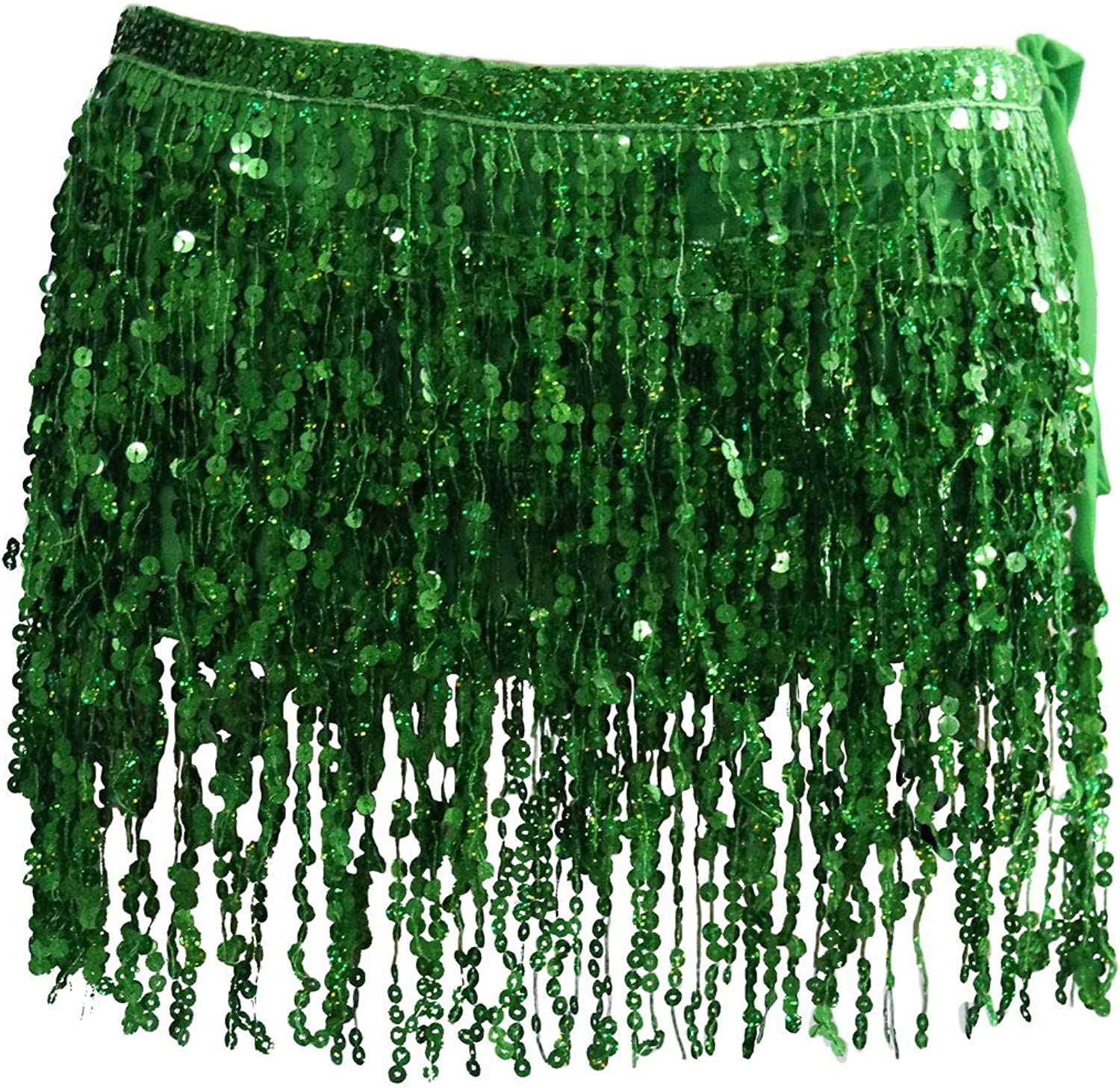 Moonhey Womens Sparkly Wrap Skirts Sequins Belly Dancing Hip Scarf Metallic Festival Skirt