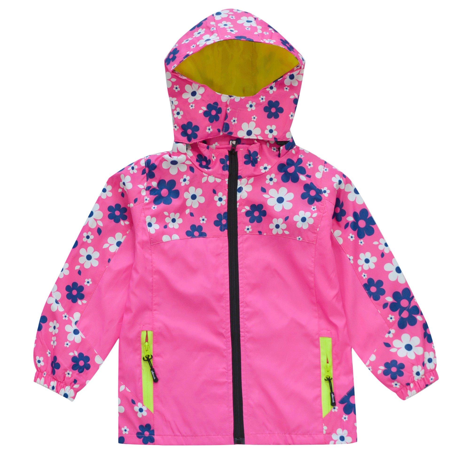 KISBINI Big Girls Windproof Zip Jacket Hooded Windbreaker Raincoat Rose Red 5T