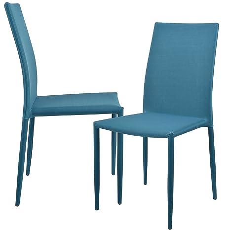 en.casa]®] Set de 2 sillas (Turquesa) tapizadas de Tela para Comedor ...