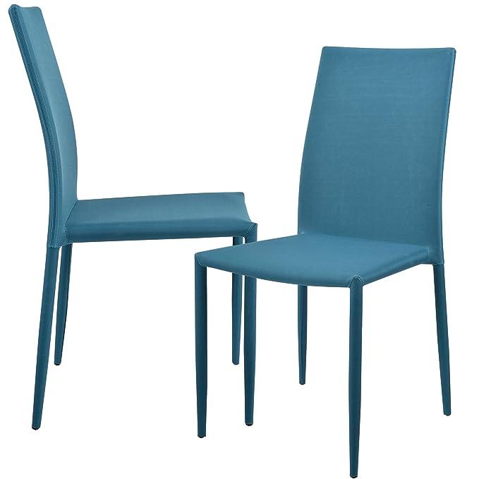 1f22018da [en.casa]®] Set de 2 sillas (Turquesa) tapizadas de Tela para Comedor,  salón, Cocina u Oficina: Amazon.es: Hogar
