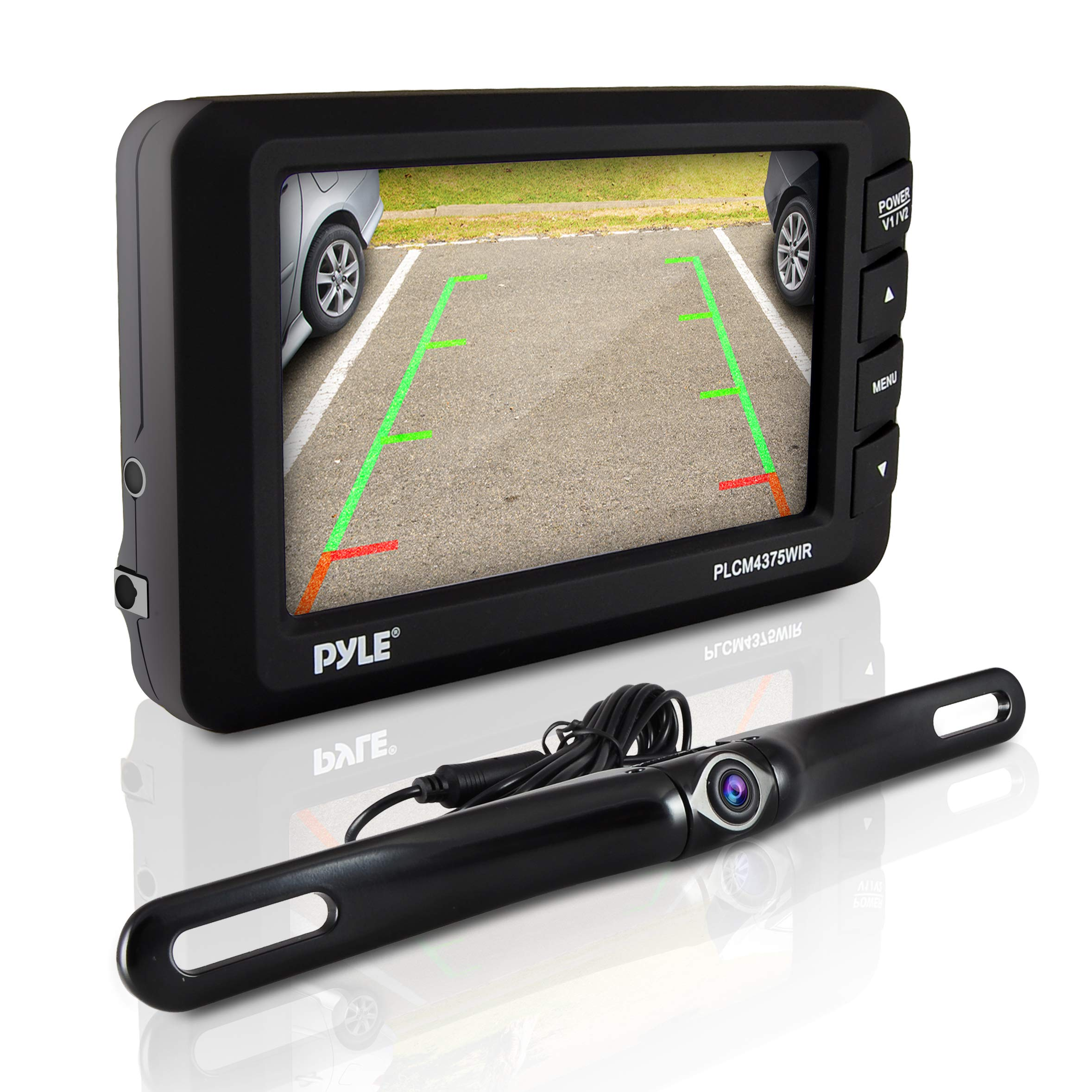 Wireless Rear View Backup Camera - Car Parking Rearview Monitor System and Reverse Safety w/Distance Scale Lines, Waterproof, Night Vision, 4.3'' LCD Screen, Video Color Display for Vehicles - Pyle by Pyle