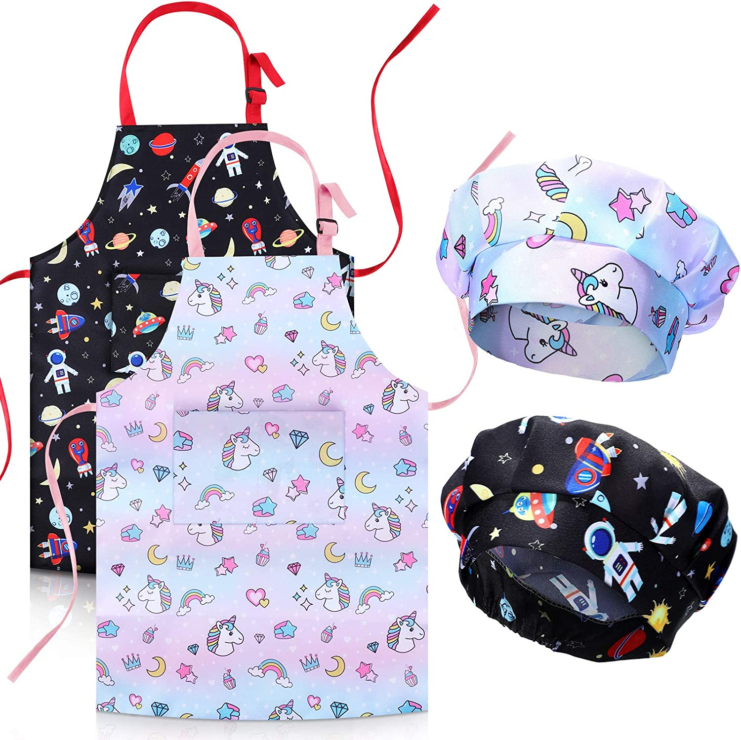 2 Pieces Kids Apron Chef Hat Set Unicorns Aliens Printed Aprons for Boys and Girls Cooking Baking Crafting Gardening Large Size