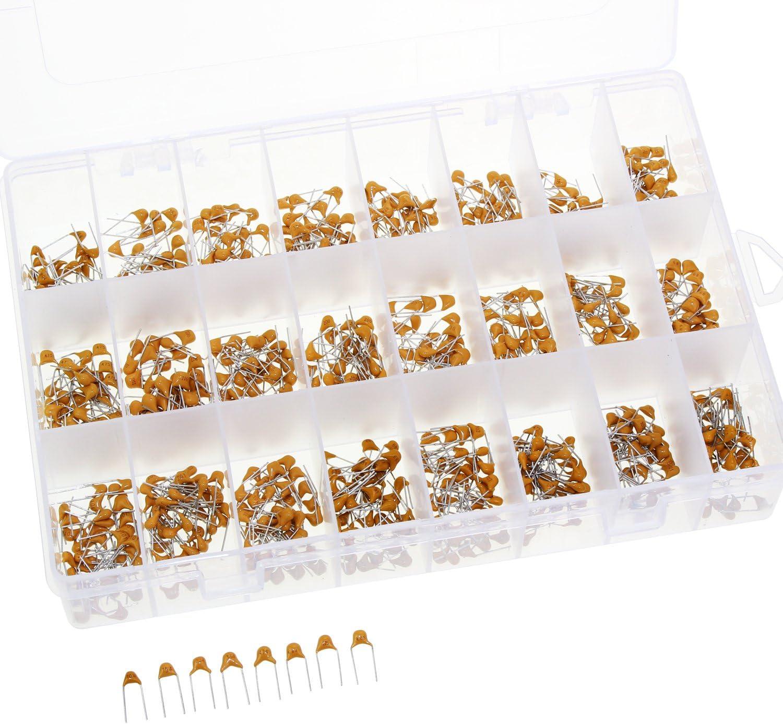 840pcs OCR 24Values Ceramic Capacitor DIP Monolithic Multilayer Ceramic Chip Capacitors Assortment Box Kit Range 10PF-10uf