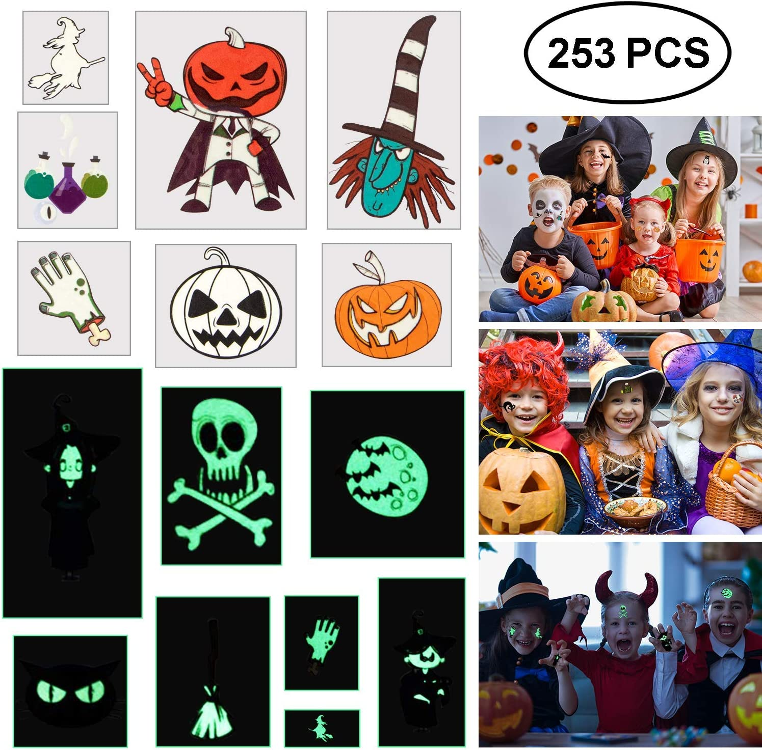 Blasoul Halloween Temporary Tattoos 253PCS Monster Tattoos Children Tattoos Waterproof Halloween Tattoo Stickers Noctilucent Stickers Bat Black Skeleton Web Zombie Ghost Tattoo Sticker for Boys Girls