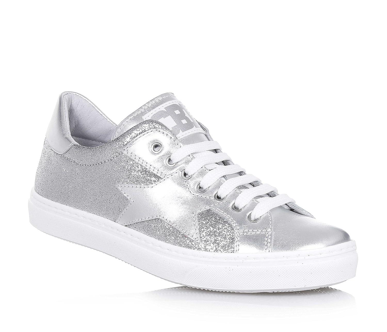 CIAO BIMBI - Chaussure à lacets argent en cuir et tissu avec glitter, soignée dans tous ses détails, fille, filles, femme
