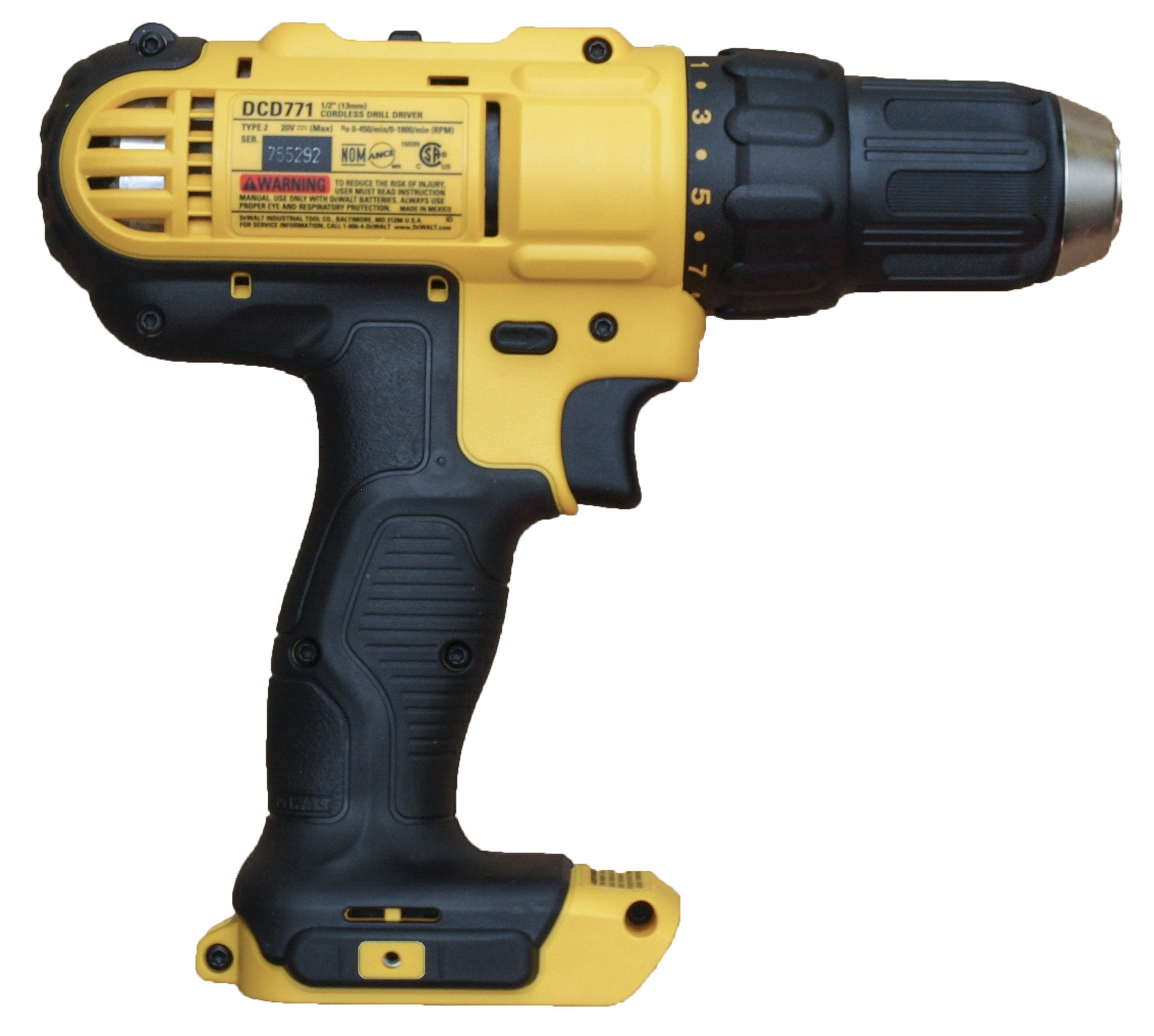 Dewalt DCD771 DCD771B 20V MAX Cordless Lithium-Ion 1/2 Inch Compact Drill Driver - (Bare Tool Only - No Battery or Charger Included)