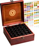 Beautiful Essential Oil Box 36 Bottle - Holds 5-15ml &10ml Roller Bottles - Free Roller Bottle Opener & 192 Essential Oil Labels - Foam Base To Protect The Glass On Your Bottles (Dark Red)
