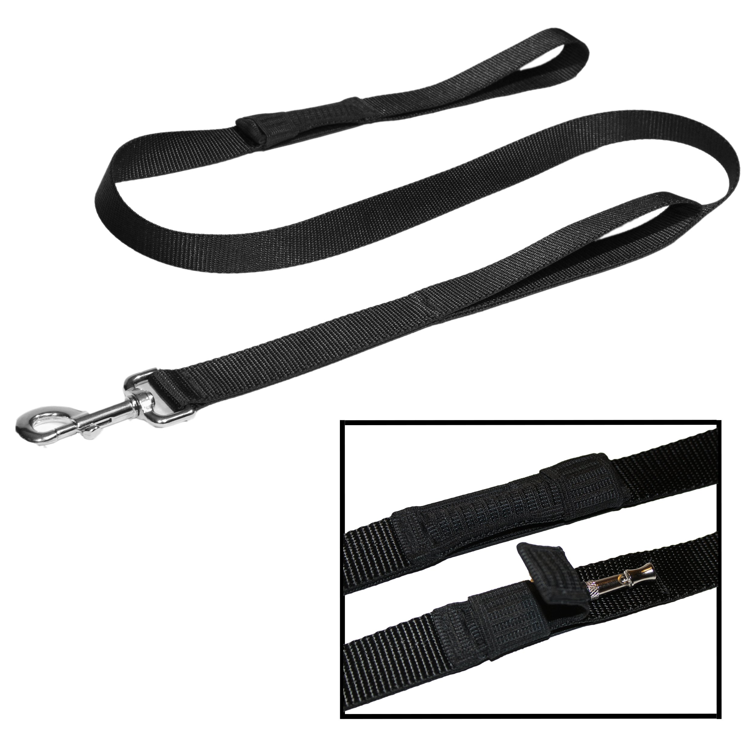 TugMutt DOG WHISTLE LEASH   A Leash with an Integrated Dog Whistle   Make your Dog Come to you Every Time   Training Guide Included   2 Handle Leash (4 ft.)