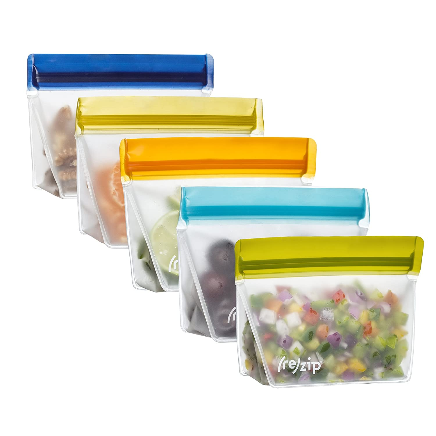 rezip Stand-Up 1-Cup/8-ounce Leakproof Reusable Storage Bag 5-Pack (Multi-Color) BA936M-AOMYN