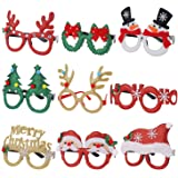 Eokeanon 9 Pack Christmas Party Glasses Christmas Glitter Decoration Costume Eyeglasses Frame Unisex Eyeglasses for…