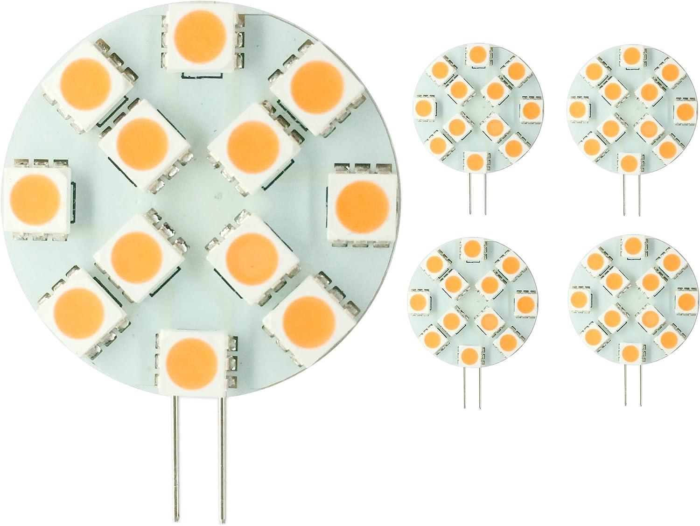 2016 nuevo. 5x Bombillas 3 W (2,5 W/250 lm) bombillas con G4 12 SMD 5050 DC 12 V), color blanco cálido, G4, 3.00 wattsW 12.00 voltsV