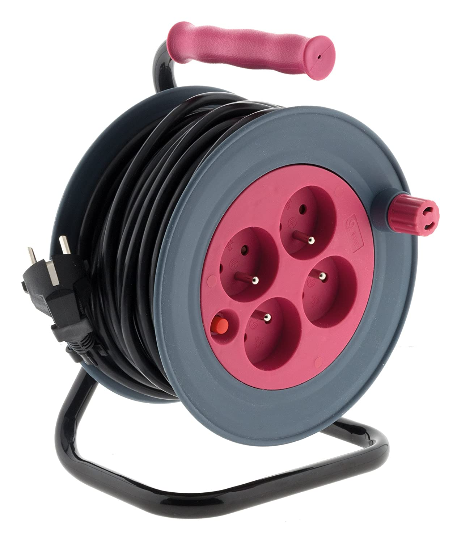 Enrouleur ménager 15m 3G1 mm² - Rose Zenitech 192626