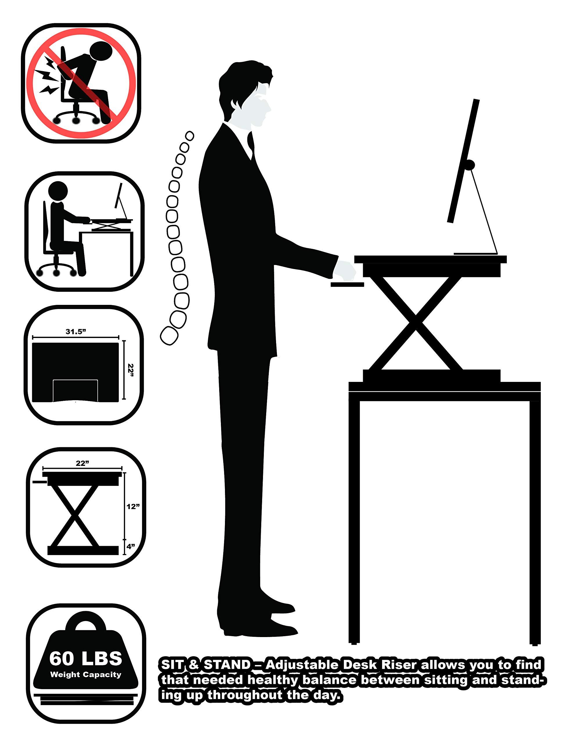 SHW Height Adjustable Sit to Stand Desk Riser Converter Workstation, Black by SHW (Image #3)